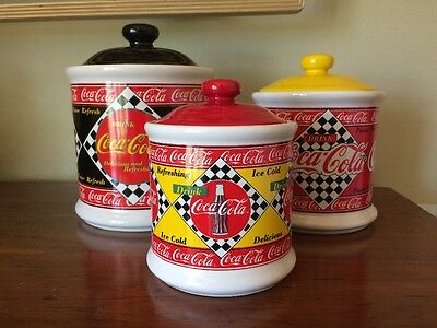 Set Of 3 Collectible Red Yellow Black Diner Style Coca Cola Kitchen Canisters