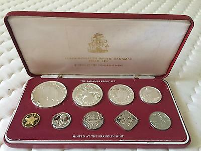 Bahamas 1978 Flag Red Box Proof Set of 9 Coins,With 4 Silver Coins