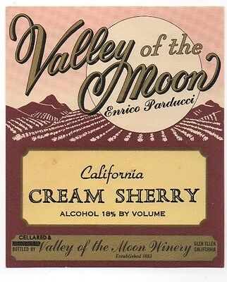 Original Vintage 1950s-60s California Wine Label Parducci Sherry Valley Moon NOS