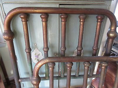 Antique Chunky Brass Bed Frame Head Board Foot Board &Rails Twin Size OLD PATINA