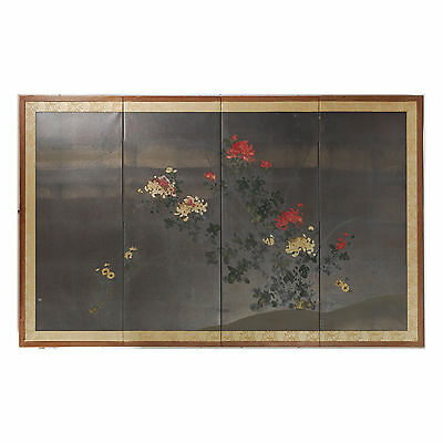 Vintage/Antique Japanese Silver Gilded Paper Table Screen chrysanthemum Flowers