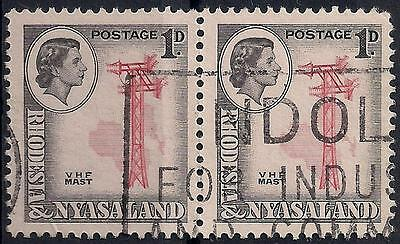 """Rhodesia Nyasaland 1d PAIR 1959 SG #19a """"NDOLA FOR INDUSTRY AND COMMERCE"""" CANCEL"""