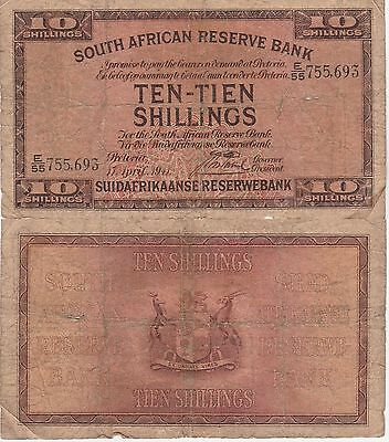 South Africa 10 Shillings Banknote 17.4.1941 Choice Good Condition Cat#82-D-5693