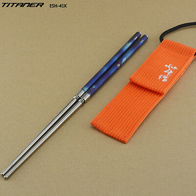 Round Titanium Folding Chopstick Outdoor Camping Picnic Chopstick Travel Cutlery