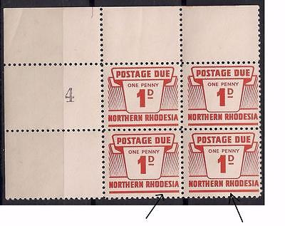 NORTHERN RHODESIA 1963 1d POSTAGE DUE SGD5  BLOCK OF 4  W/LOW SHEET NUM UNIQUE R