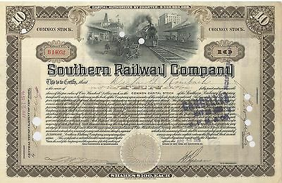 Southern Railway Company > 1916 railroad stock certificate now Norfolk Southern