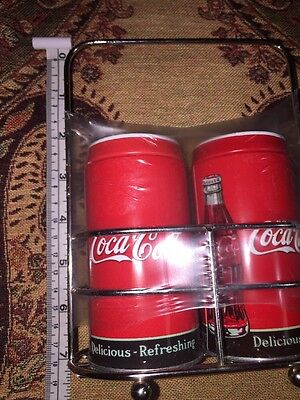 NEW in package COKE COCA COLA salt and pepper shakers and caddy