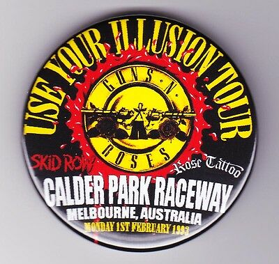 GUNS N ROSES 1993 Use Your Illusion Tour Badge CALDER PARK Skid Row Rose Tattoo