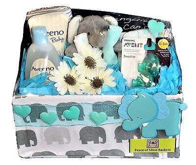 Gender Neutral Baby Shower Gift Basket- Elephant/Blue 11pc