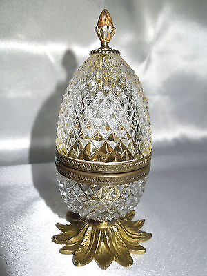 French Cut Crystal Glass Trinket Box With Pinapple Brass Base