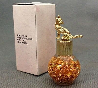 Genuine Gold-Decorative Souvenir Bottle of Gold Flakes w/ Coyote Topper