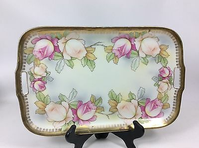 "Antique Germany Hand Painted Porcelain Handled Rose Vanity Dresser Tray-12""x7"""
