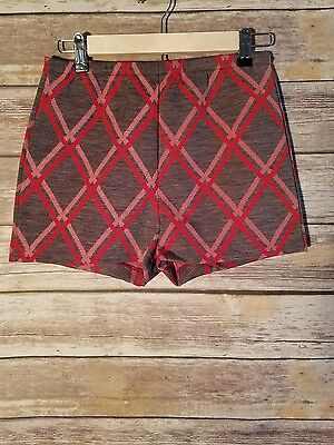 Vintage - Womens - Jantzen Shorts - 1960s - 1970s - Red Gray - Size 12
