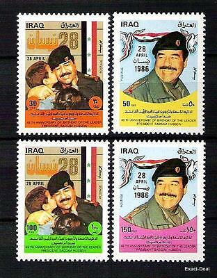 Iraq Irak Stamps Saddam Hussein Birthday 1986  Sc 1227 - 1230 Mnh Rare