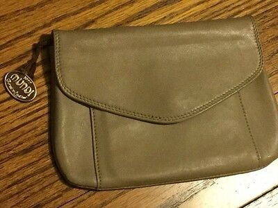 NWT Vintage MUNDI Taupe Clutch Wallet Coin Purse Genuine Soft Leather 1977Brazil