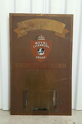 Antique Brass Metal Royal Liverpool Litho Insurance Advertising Calendar Sign