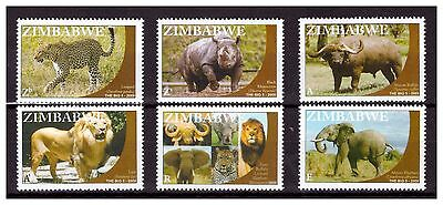 Zimbabwe 2009 Animals Big Five Sg 1277 To 1282 Singles Set