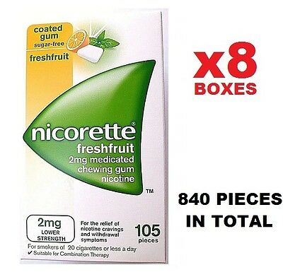 x8 Nicorette 2mg SugarFree Gum 105x8=840 Pieces - FreshFruit (Fusion)