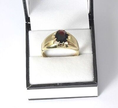 Mens 9ct Gold Garnet Solitaire Ring