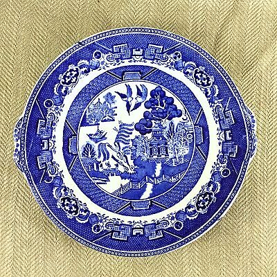 Vintage Blue White Pottery Cake Sandwich Plate Adderly Willow Pattern Art Deco