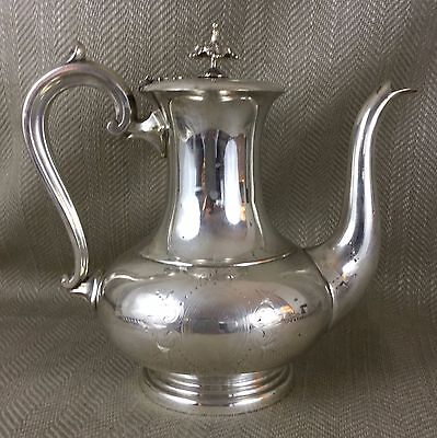 Antique Coffee Pot Jug Silver Plated 19th C Victorian Engraved Large Lamp Shape