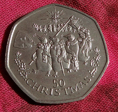 Gibraltar 1995 50p Coin Penguins Star in Christmas