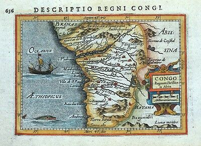 CONGO REGNUM CHRISTIAN IN AFRICA, P.BERTIUS original antique miniature map 1618