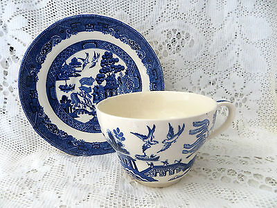 Vintage Johnson Brothers Breakfast Cup & Saucer Willow Blue & White Chinoiserie