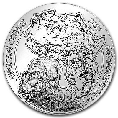 2017 Rwanda African Wildlife Hippopotamus 1oz Silver Coin Mint Sealed BU Hippo