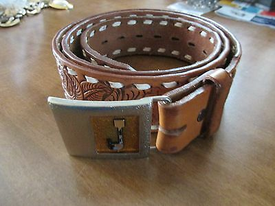 Vintage Justin Boots Western Style Tooled Top Grain Cowhide Belt Tan Size 38