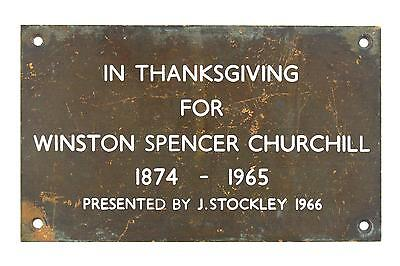 A 1966 Winston Churchill Memorial plaque English presented by J Stockley