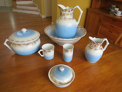 Lovely 7-Piece Victorian Ironstone Chamber Set Pitchers Wash Bowl Johnson Bros,