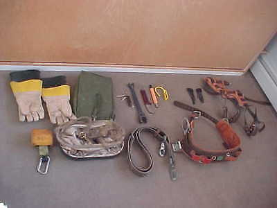 pole tree climbing tools lineman gaffs spikes belts harrness saftey klein miller