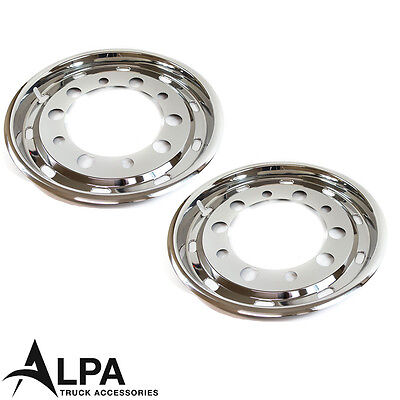 """Truck Super Single Wheel Trims 22.5"""" - 30mm Inset Scania DAF Renault Iveco *Pair"""