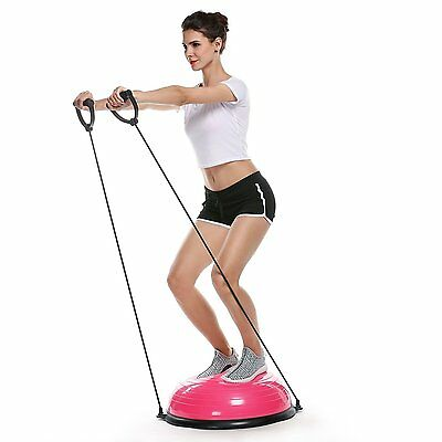 "Pink 23"" Inch Bosu Balance Ball Trainer Yoga Fitness with Pump New Free Shipping"