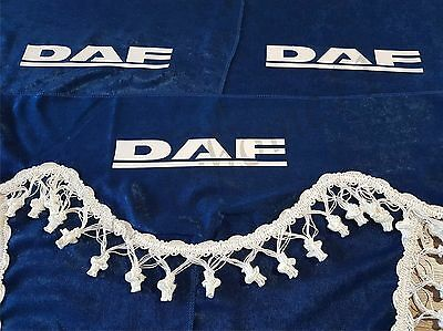 Set Of 3 Blue Curtains With White Tassels  And Logo For DAF XF/CF/LF