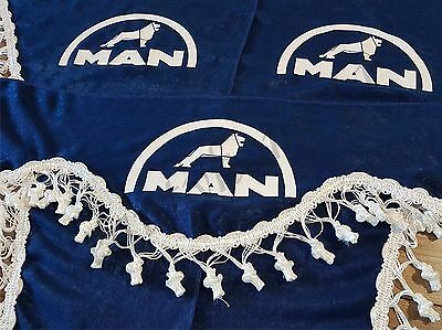Set Of 3 Blue Curtains With White Tassels  And Logo For MAN TGA/TGX/TGS
