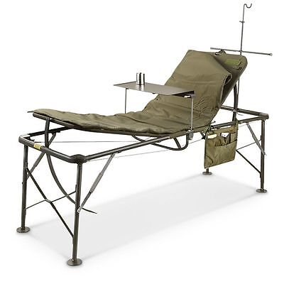 US Army Bed Adjustable Hospital Folding Field SURGICAL Cot Sun lounger