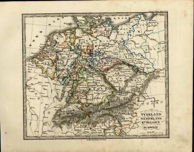 Central Europe Germany Nederland Netherlands Bohemia 1846 scarce antique map