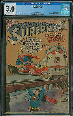 Superman #123 CGC 3.0 1st appearance of Supergril prototype in tryout issue