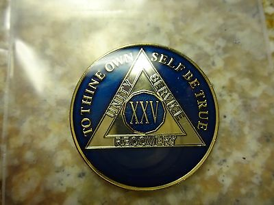 AA Tri-Plate Alcoholics Anonymous Blue/Gold Coin 25 Years Chip Token Medallion