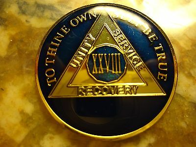 AA Blue Gold 28 Year Coin Tri-Plate Alcoholics Anonymous Medallion Sobriety Chip