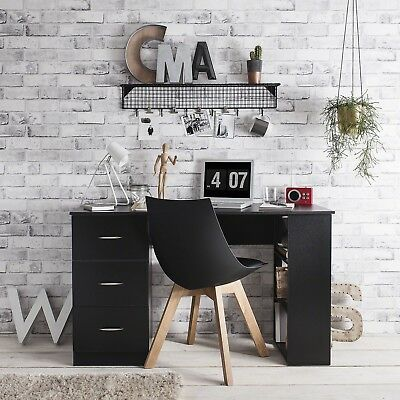 Home Office Desk Computer Table Workstation - with 3 Drawers & 3 Shelves