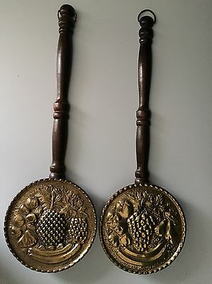 Vintage Brass/Aluminum Wooden Handle Wall Decor Set Of 2 Made In England