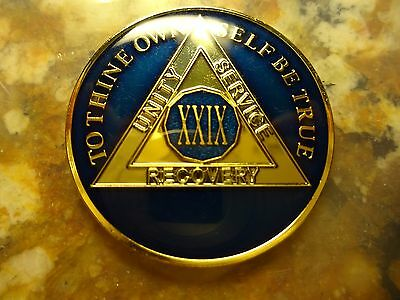 AA Tri-Plate Alcoholics Anonymous Blue/Gold Coin 30 Years Chip Token Medallion