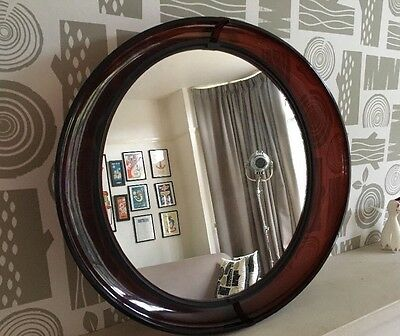 Vintage Mid Century Mirror Purple Eye Shaped Retro Kitsch Bathroom Wall Make Up