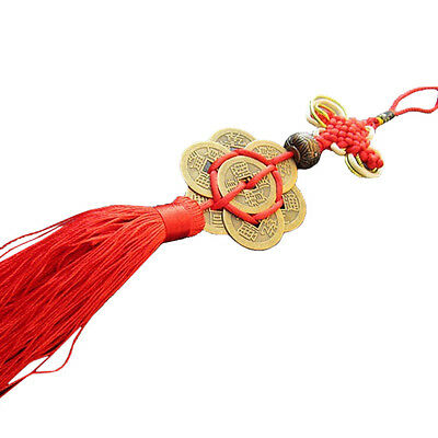 Fashion Feng Shui Chinese Knot Tassel China Mascot Lucky Charm Ancient Coin R5C7