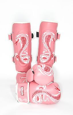 Sidekick Girls Womens Pink Cobra Series Muay Thai Kickboxing Gloves Set RRP £70