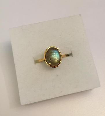 3ct Labradorite Solitaire Ring in 14K Gold Overlay 925 Sterling Silver - Size N
