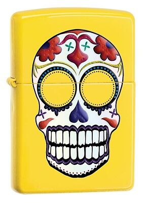 24Zippo 24894, Skull-Day of the Dead, Lemon Yellow Finish Lighter, Full Size